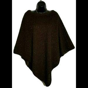 Sweaters - NWT Brown Asymmetrical Sparkle Poncho Wrap Sz OS